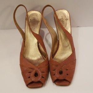 Prada brown leather slingback wedge sandals 37 1/2